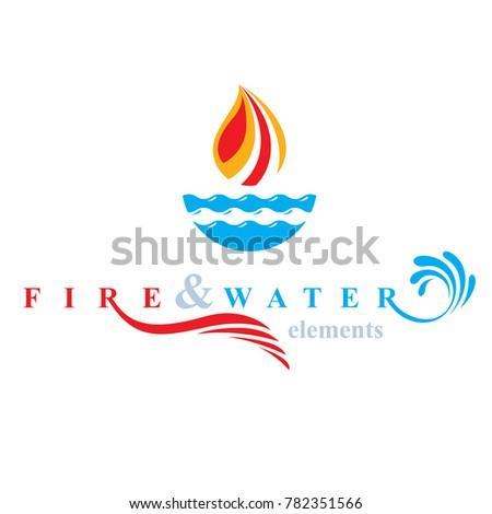 Nature Elements Balance Conceptual Emblem Use Stock Illustration