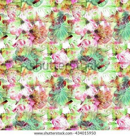 nature flowers and leaves watercolor seamless pattern background
