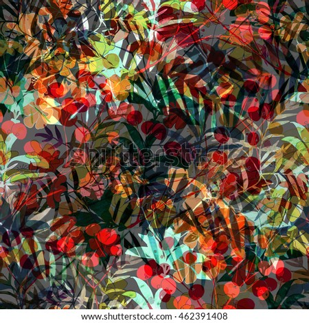 nature flowers, berry and leaves seamless pattern background