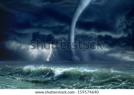 Nature force background - huge tornado, bright lightning in dark stormy sky, stormy sea, big waves - stock photo
