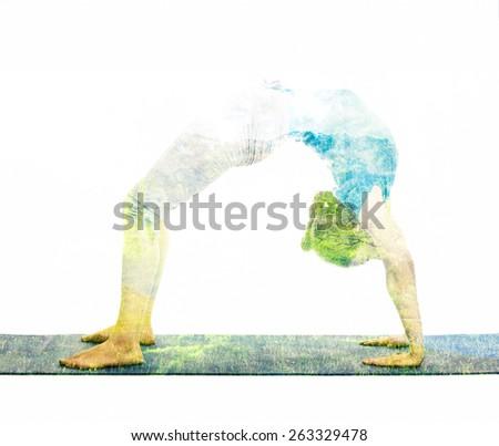 Nature harmony healthy lifestyle concept - double exposure image of  woman doing yoga asana Upward Bow Pose (intense backbend) (urdhva dhanurasana) asana exercise isolated on white background - stock photo