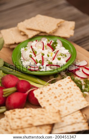 Nature healthy food,cottage cheese whit radish,chives and crackers