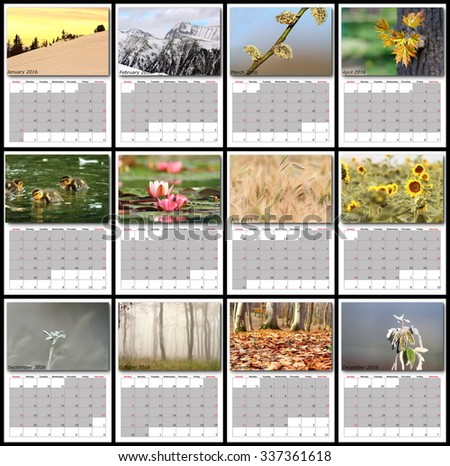 nature images calendar year 2016 all months layout for print - stock photo