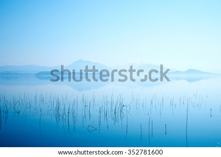 Nature Landscape At Morning Of River And Mountains - stock photo