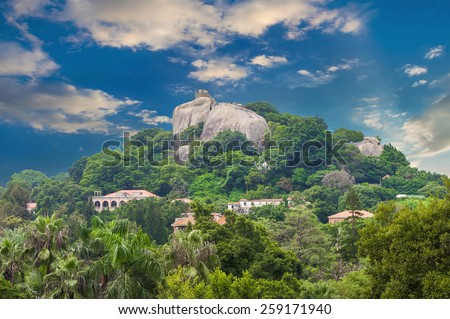 Nature landscape in China ( Sunlight Rock at Gulangyu Island - Xiamen ) - stock photo