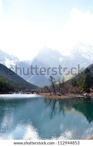 nature landscape mountain range reflection beautiful Jade Dragon Snow Mountain or Mount Yulong