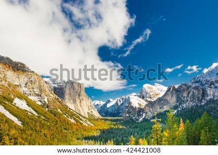 Nature Landscape of Yosemite National Park, California, USA.Yosemite National Park is in Sierra Nevada Area. This nature landscape of Yosemite Valley, El Capitan, Half dome, and Bridalveil Falls - stock photo