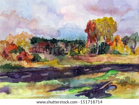 nature, meadow, watercolor, wood, water, illustration