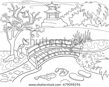 Nature Japan Coloring Book Children Cartoon Stock Illustration ...