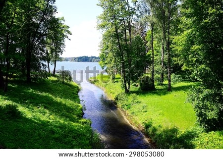 Nature of Lithuania Galves lake near Trakai town. - stock photo