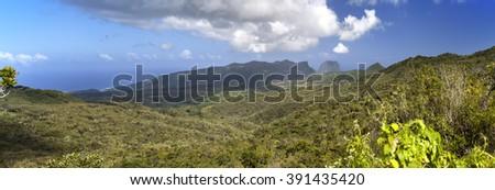 Nature of Mauritius. Wood and mountains, panorama - stock photo