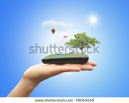 Nature on mobile phone - stock photo
