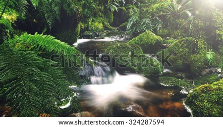Nature Outdoors Waterfall Tranquil Scene Concept - stock photo