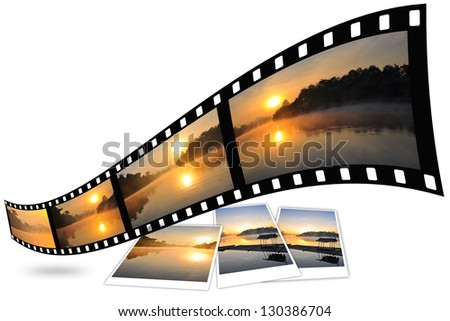 Nature photo with film strip isolated on white background