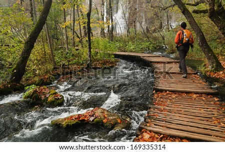 Nature photographer in Plitvice National Park, Croatia, Europe