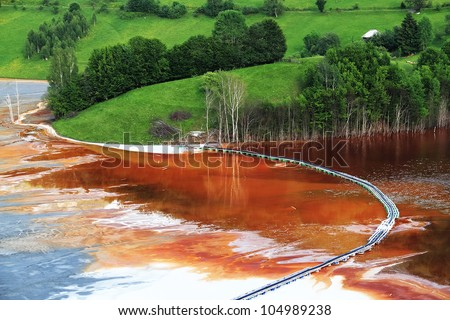 Nature pollution of a copper mine exploitation - stock photo