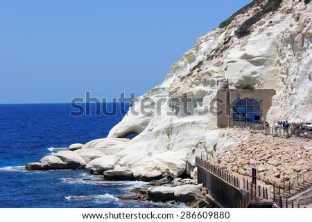 nature reserve Rosh HaNikra is a geologic formation in Israel, located on the coast of the Mediterranean Sea, in the Western Galilee near the border with Lebanon - stock photo