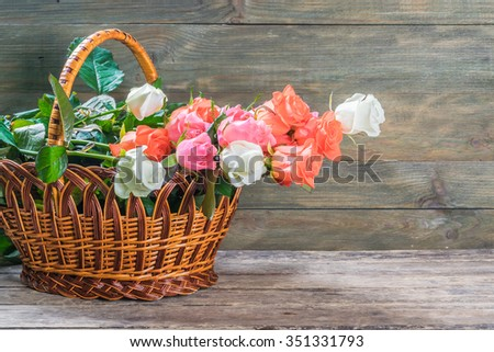Nature rustic background with rose flowers, selective focus