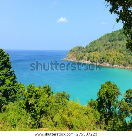 Nature scene tropical beach and blue sky in Phuket island, Thailand