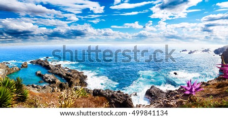 Nature scenic seascape in Canary Island.Travel adventures landscape.Tenerife island scenery.Ocean and beautiful stone