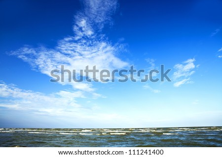 Nature seascape with seagull in blue sky - stock photo