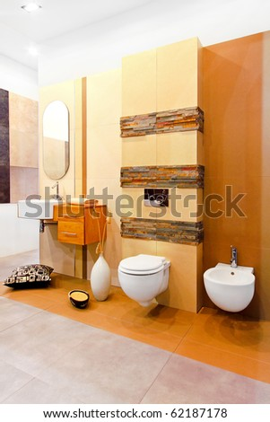 Nature style marble toilet in earth colours - stock photo