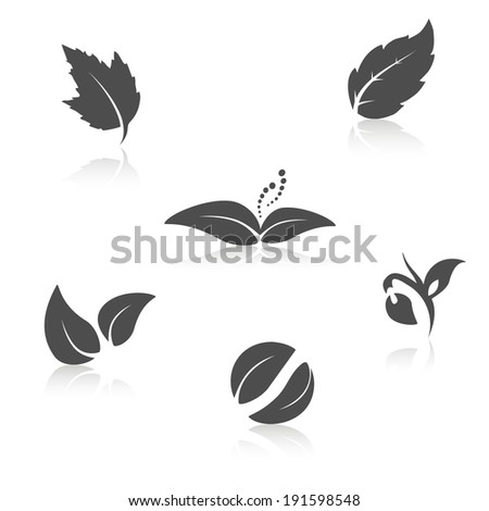 nature symbols - leaf icon, silhouette with shadow  - stock photo