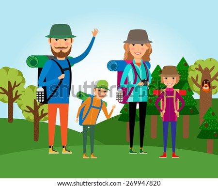 Nature tourism. Family at the forest illustration. Lifestyle and people, outdoor journey, mother and daughter, father and son - stock photo