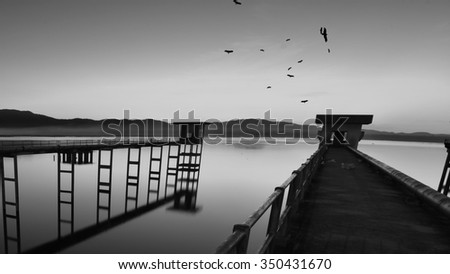 Nature view form  Bridge cement to pump water above the reservoir. - stock photo