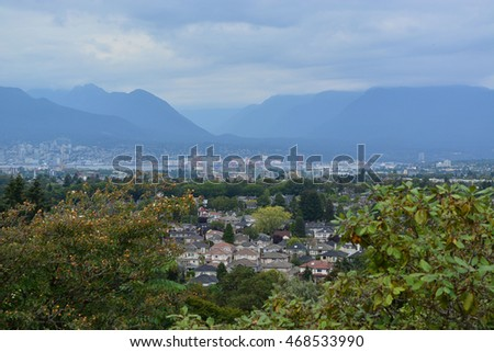 Nature view of Vancouver Canada on overcast summer day