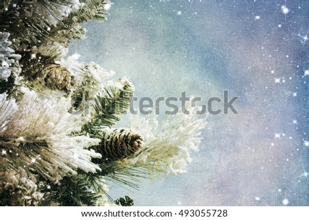 Nature winter background with lighten bokeh