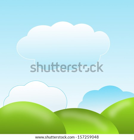 nature with green lawns and blue sky, illustration