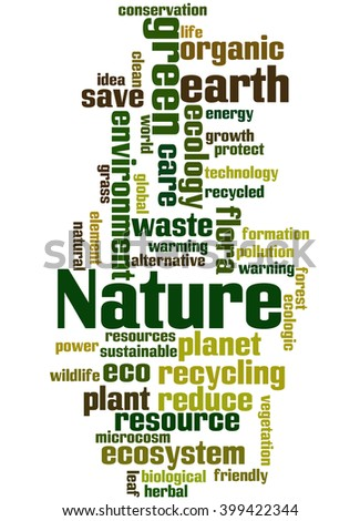 Nature, word cloud concept on white background. - stock photo