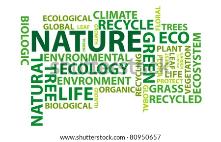 Nature word cloud conceptual illustration. Vector available. - stock photo