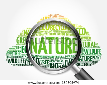 Nature word cloud with magnifying glass, ecology concept - stock photo