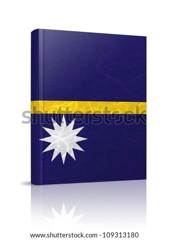 Nauru flag book. Mulberry paper on white background.