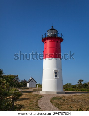 Nauset Lighthouse, Cape Cod.  Light has been relocated away from the cliff. - stock photo