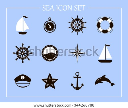 Nautical and marine icons. Nautical design elements. Sea leisure sport.  Icon and design element. Symbol of sailors, sail, cruise and sea. Set of marine icons.