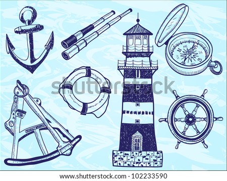 Nautical collection - hand-drawn illustration of lighthouse, life buoy, telescope, sextant, anchor, helm, compass - stock photo