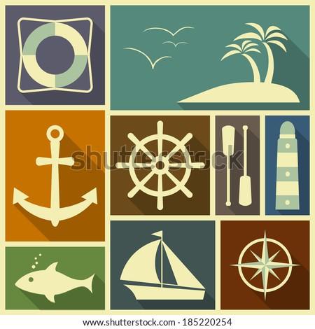 Nautical flat icons in retro colour scheme.  - stock photo