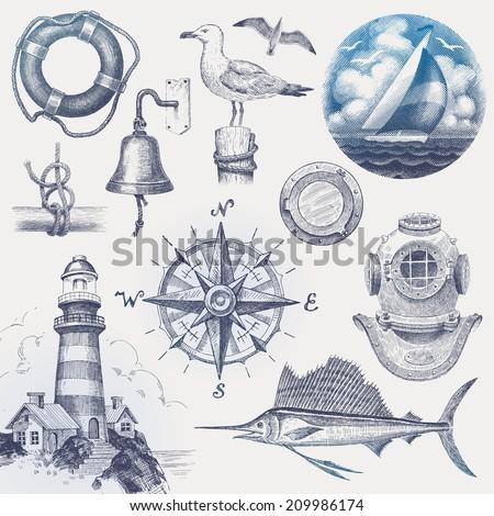Nautical hand drawn set - stock photo