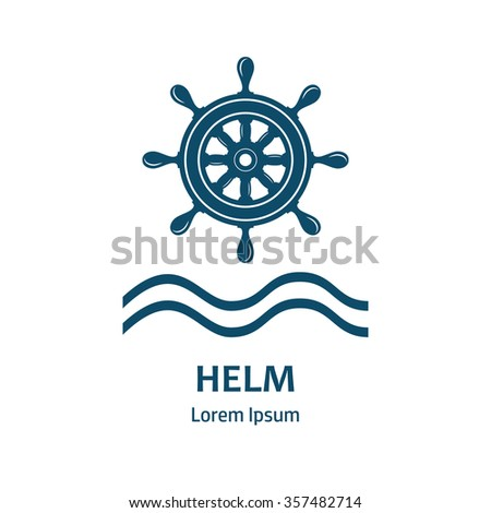Nautical helm wheel. Helm logo for maritime companies. Boat wheel control rudder icon. Rudder ships, sea wheel, round, control, yacht, cruise. Helm wheel isolated. Label template.
