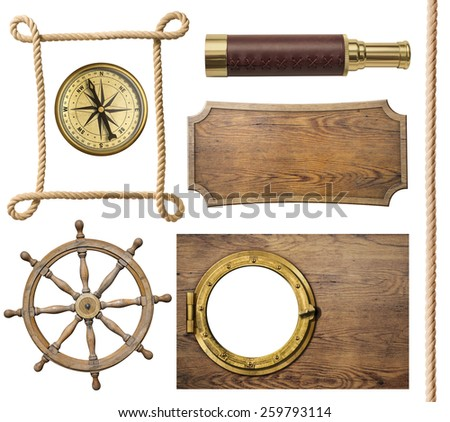 nautical objects rope, compass, steering wheel, signboard, porthole isolated - stock photo