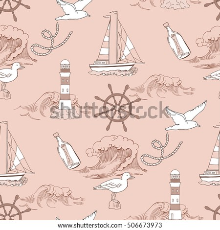 Nautical seamless pattern with ships and wheels. Hand drawn elements for summer holidays.Travel, sea and ocean.  Illustration