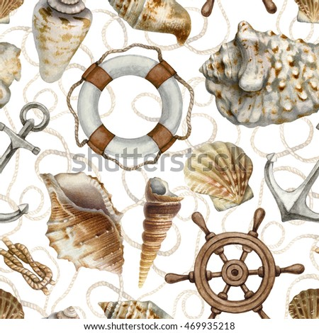 Nautical seamless pattern with watercolor illustrations of shells