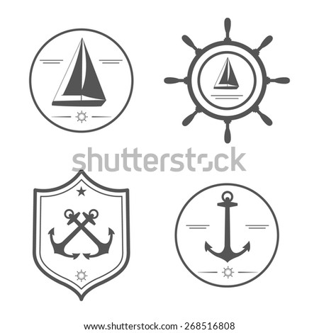 Nautical set. Anchor, yacht, wheel. Design template for label, banner, badge, logo, coat of arms. - stock photo