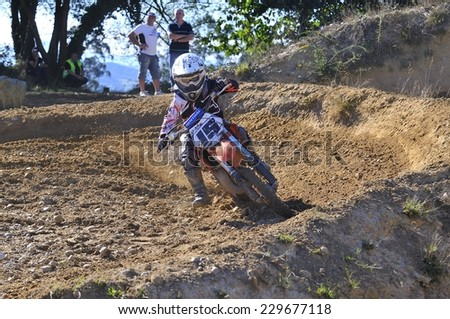 NAVA, SPAIN - OCTOBER 18: Ribuli motocross in October 18, 2014 in Nava, Spain. Motorcycle Rider Alejo Peral Lopez in the bike race.