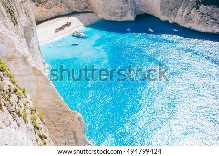 Navagio bay and Ship Wreck beach. The most famous natural landmark of Zakynthos, Greek island in the Ionian Sea
