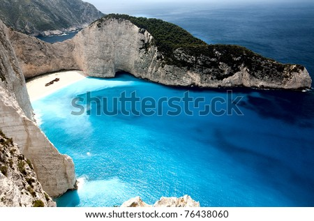 Navagio beach at Zakynthos island in Greece. Aerial view - stock photo
