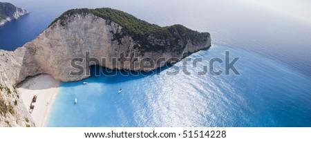 Navagio Beach-Ionian Sea - stock photo